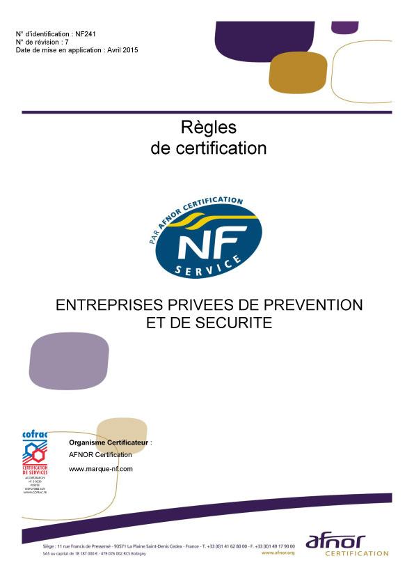 Référentiel de certification AFNOR NF 241