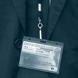 Carte professionnelle carte matérialisée (badge) d'un agent de sécurité